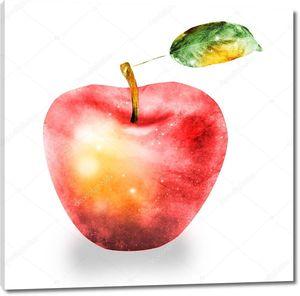 Акварельное яблоко на белом