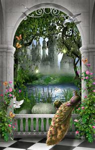 Павлин в арке перед замком