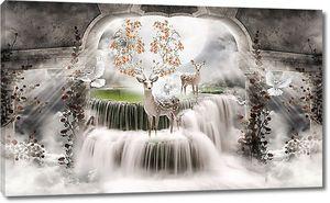Олень с цветущими рогами на водопаде