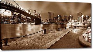 Мост и набережная ночного города