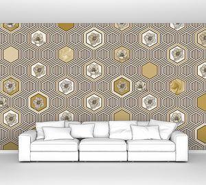Geometrical fusion-желтый орнамент из сот
