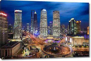 Shanghai lujiazui финансов и торговли зоны skyline в ночь