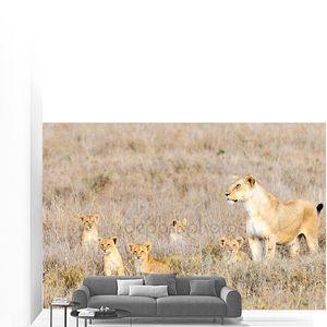 Львица & детенышей, Национальный парк Серенгети