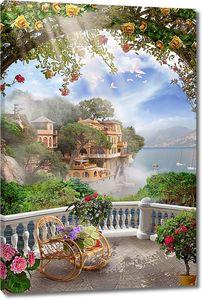 Веранда с креслом-качалкой и цветами