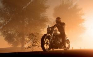 Силуэт мотоциклист