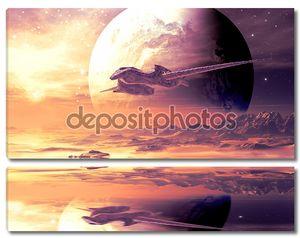 Полёт инопланетного корабля на далекой планете