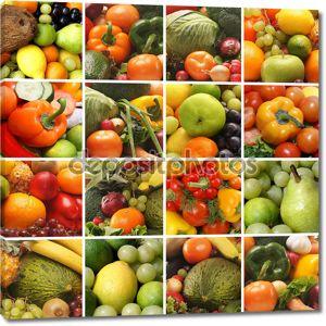 Коллаж из многих изображений различных фруктов и овощей