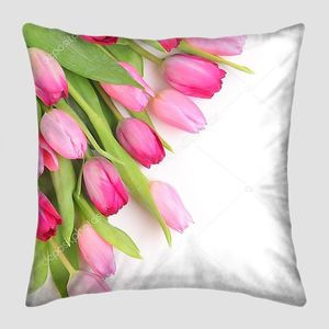 Розовые тюльпаны на белом фоне