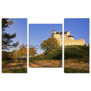 Autumn view of the beauty medieval castle in Bobolice, Poland