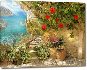 Живописный сад рядом с морем