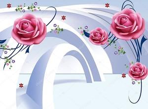 3D иллюстрации, светлом фоне, арки, большие бутоны розовых роз