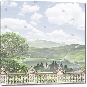 Вид на итальянский ландшафт