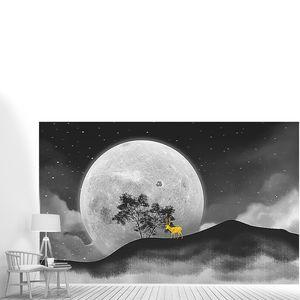 Олень на фоне луны
