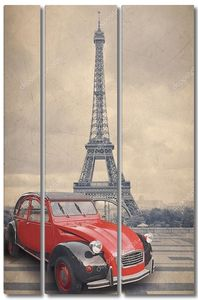 Эйфелева башня и красный автомобиль с стиле ретро Винтаж эффект фильтра.