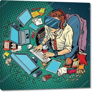 IT-гик, работающий на компьютерах, виртуальной реальности