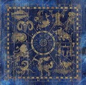 Коллаж с Золотой знак зодиака символы