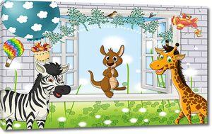 Жираф и зебра у окна