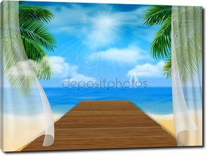 Вид на море пляж и деревянный причал
