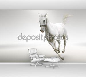 Белая лошадь скачет