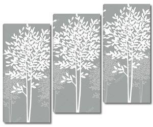 Серый фон, белый и светло серые контуры деревьев