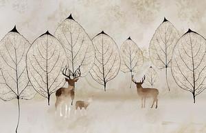 Олени с прозрачными деревьям