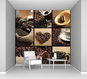 Коллаж с кофе и кофейными зернами