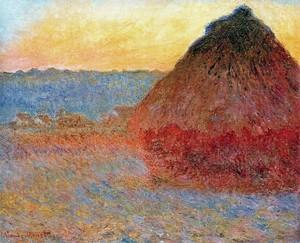 Моне Клод. Стог сена, Впечатление в розовых и синих , 1891