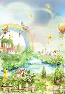 Сказочная поляна с радугой