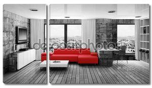 Современный интерьер комнаты с хорошей мебелью внутри.