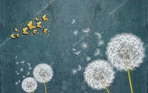 Большие белые одуванчики, золотые бабочки