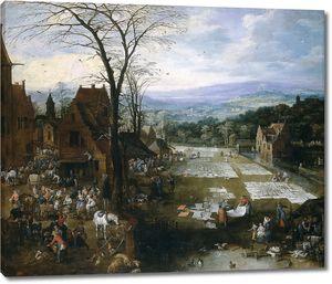 Ян Брейгель (Старший). Беление холстов близ рынка во Фландрии (совместно с Йосом де Момпером)