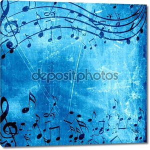 Музыкальный синий фон