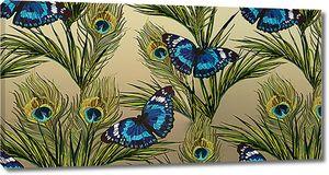 Павлиньи перья с бабочками