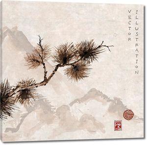 Ветвь дерева сосны в японском стиле