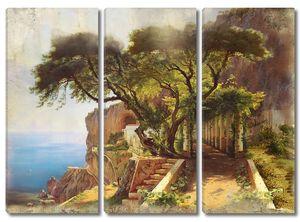 Прекрасный пейзаж со скалой и деревьями