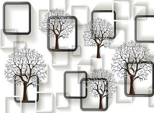 Орнамент из квадратов и деревьев