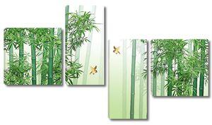 Бамбуковые стволы с птичками