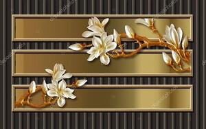 Горизонтальные прямоугольники, большие белые цветы на ветвях