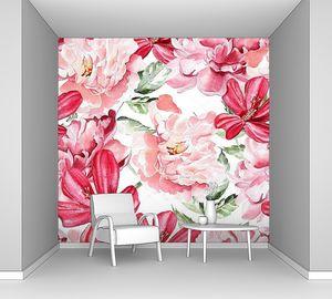 Фон с цветами акварель Пионы.
