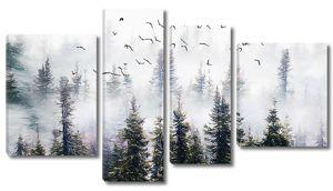 Туман в хвойном лесу