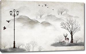 Фонарь и олень под деревом