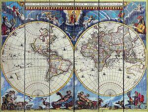 Старая карта с невероятными рисунками богов
