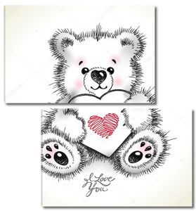 Руки drawn пушистый Мишка с сердцем в лапы.