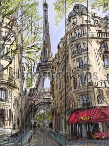 Иллюстрация улицы в Париже