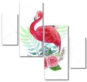 Акварель фламинго и цветы