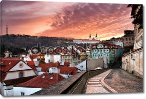Панорама Старого города в Праге в закат (Чешская Республика)