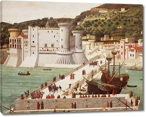 Прекрасный рисунок с кораблями и крепостью