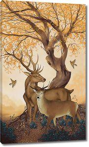 Олени под желтым деревом