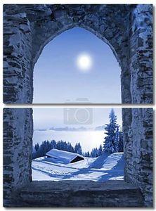 Замок окна с moonlight Декорация