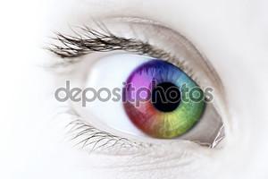Радуга глаза крупным планом